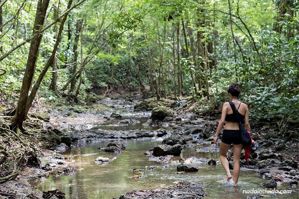 Turista camina por el río hacia la catarata secreta de Quepos (Costa Rica)