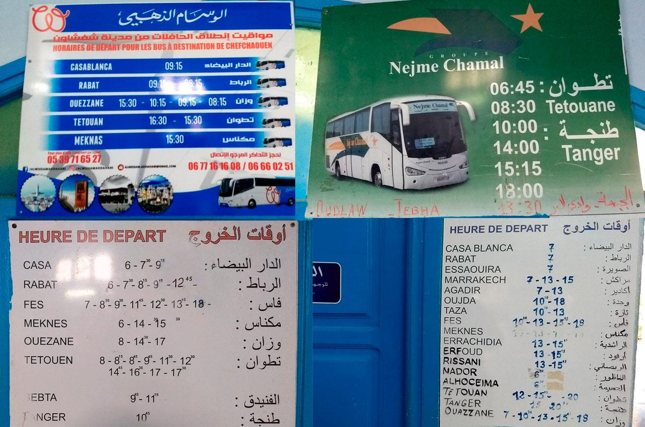 Horarios de los autobuses de Chefchaouen a otros destinos (Marruecos)