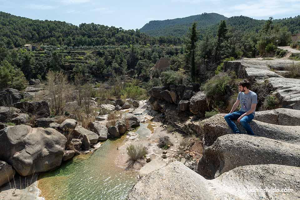 Viendo el Salto de la Portellada desde arriba (Matarraña, Aragón)