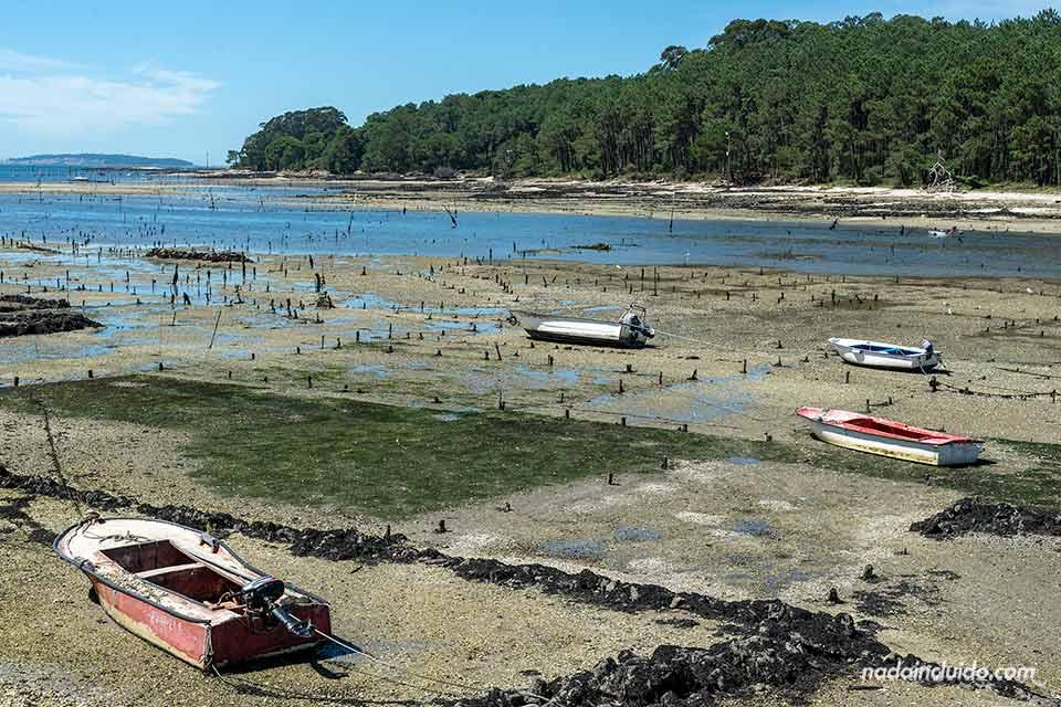 rias barcas pesqueras esperando a la subida de la marea en Santiago de Carril (Galicia)