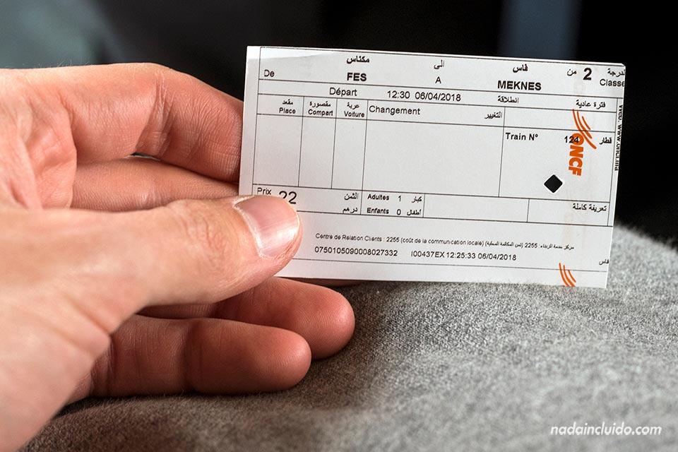 Ticket de tren en la ruta Fez - Meknes (Marruecos)