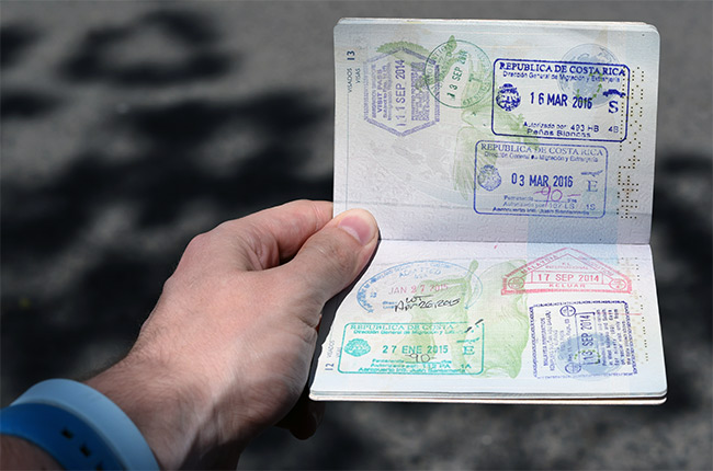 Pasaporte sello Costa Rica