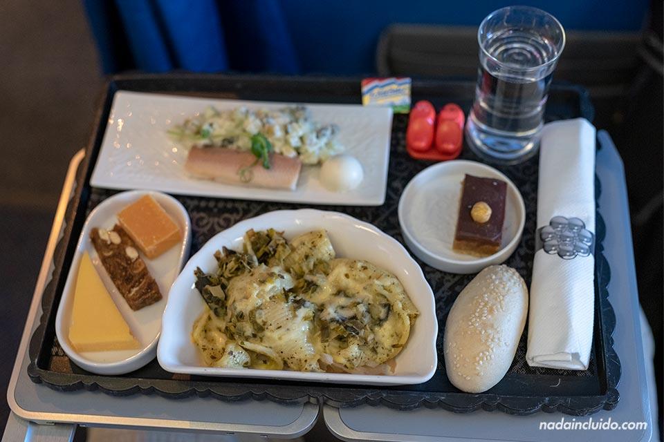 Comida en clase Business con KLM en la ruta Madrid - Amsterdam