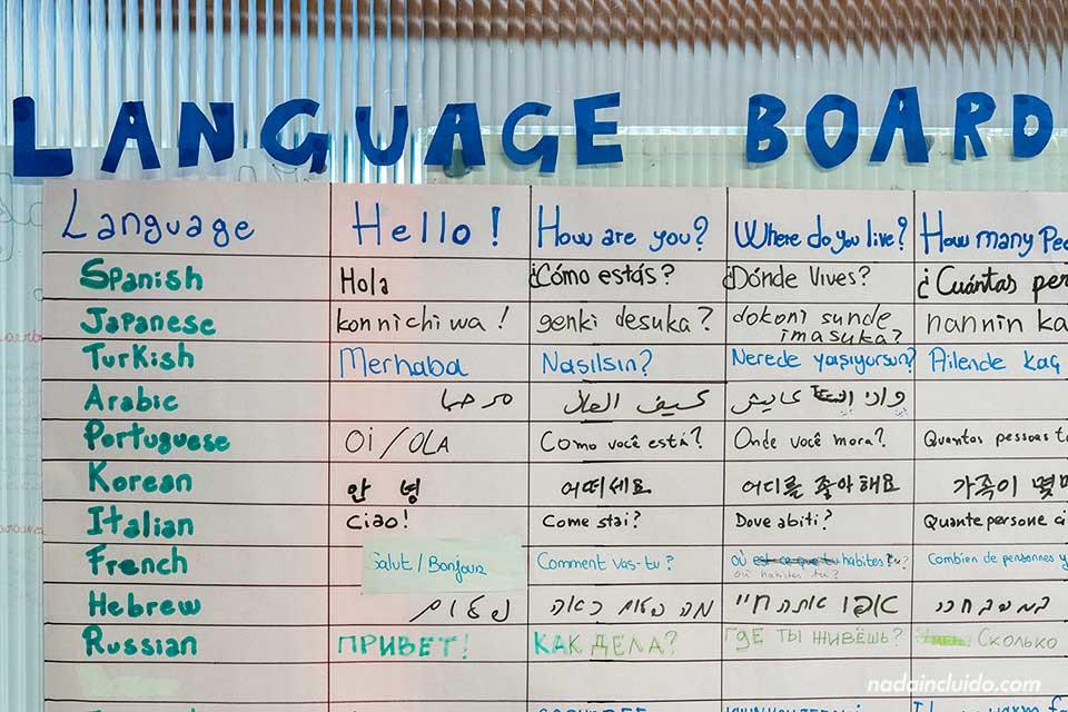 Lenguage board (pizarra de idiomas) en la escuela de Sprachcaffe de Londres (Inglaterra)
