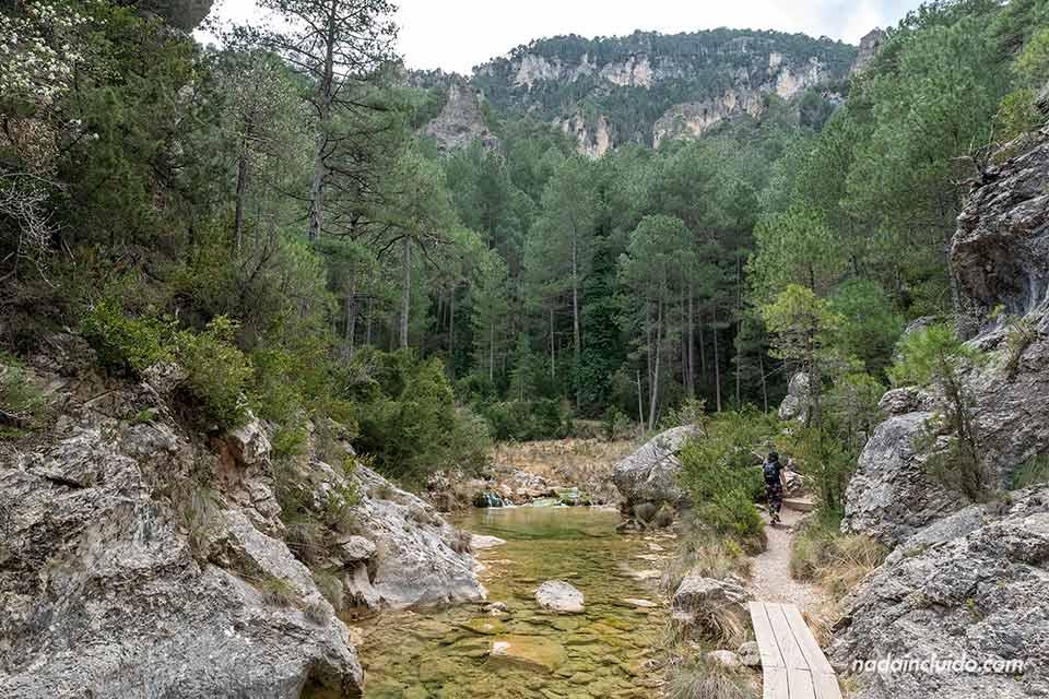 Sendero junto al río Matarraña en el Parrizal de Beceite (Aragón)