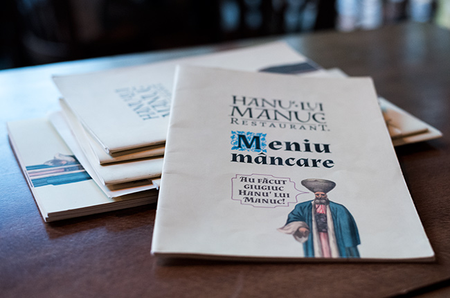 Carta del Restaurante Hanu Lui Manuc (Bucarest, Rumanía)