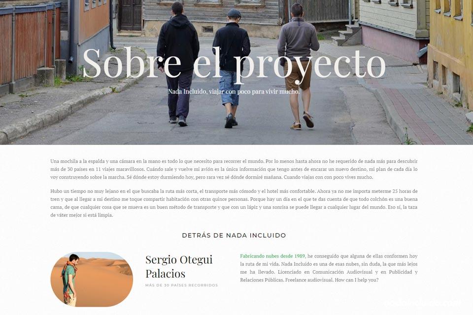 Captura de la página Sobre el proyecto de Nada Incluido