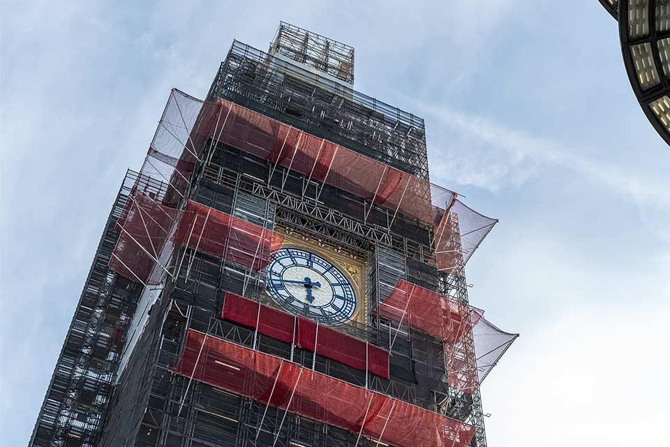 El Big Ben de Londres en obras (Inglaterra)
