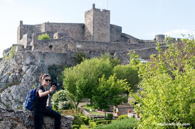 Selfie en los jardines del castillo de Santa María de Marvao (Alentejo, Portugal)