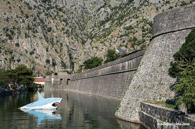 Un muñeco de tiburón en el foso que rodea a la muralla de Kotor (Montenegro)
