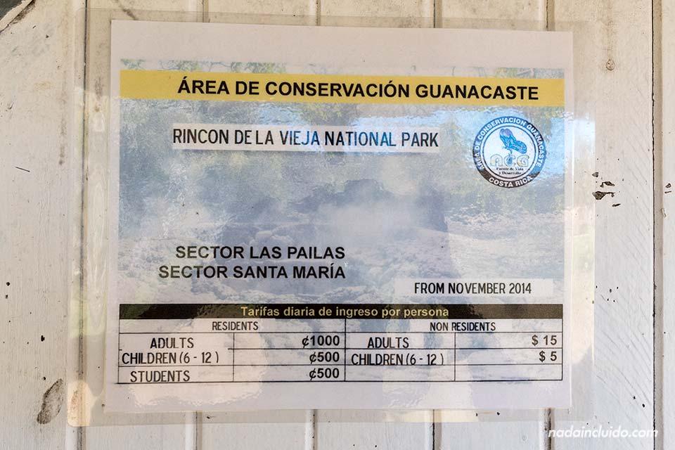 Precio de la entrada al Parque Nacional Rincón de la Vieja (Costa Rica)