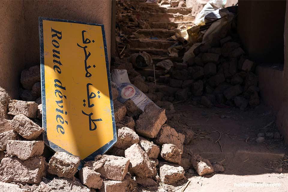 Desperdicios en el Kasbah de Ait Ben Haddou (Marruecos)