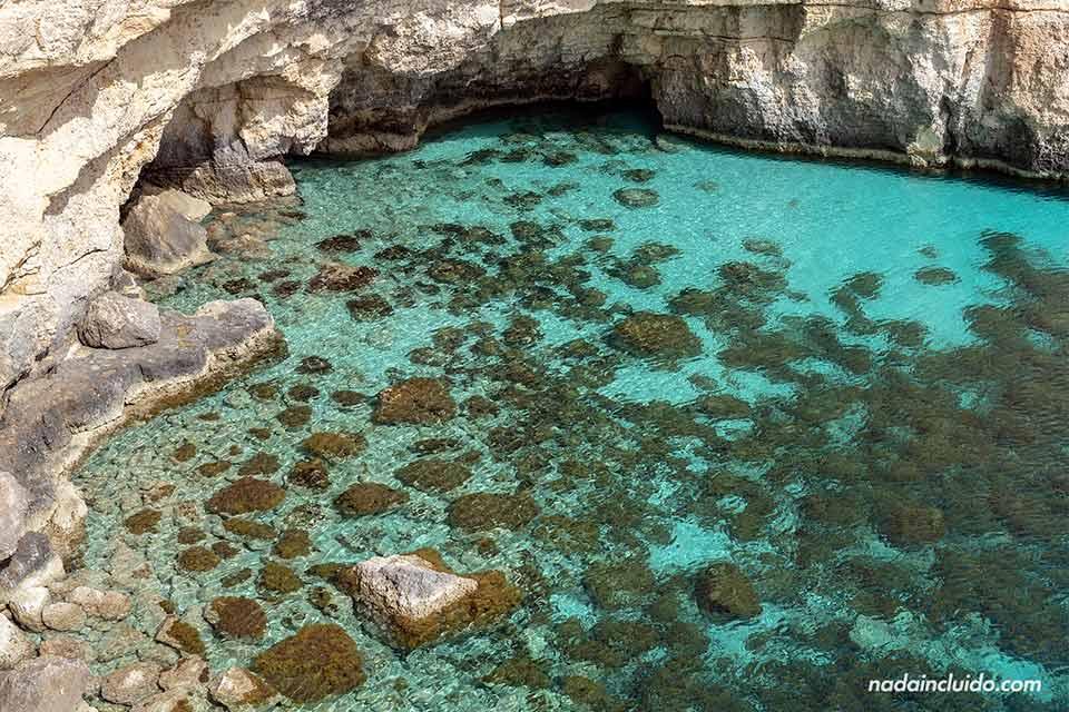 Aguas cristalinas en el mar de la isla de Comino (archipiélago de Malta)