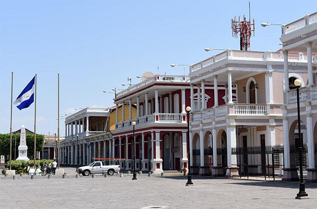 Casa de los 3 mundos en el Parque Central de Granada (Nicaragua)