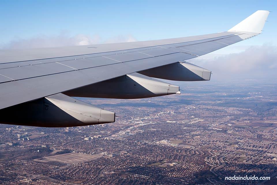 Vista de Toronto desde un avión de Air Canada