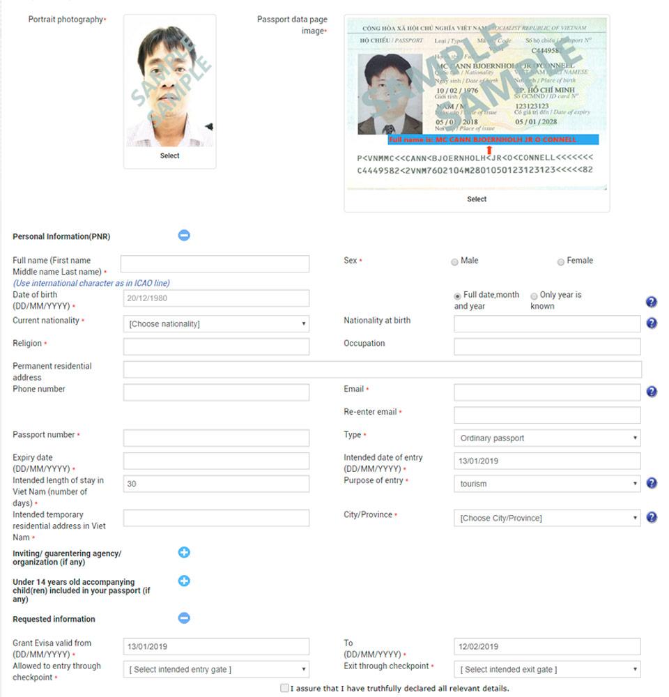 Rellenando el formulario del visado electrónico en la web del gobierno vietnamita