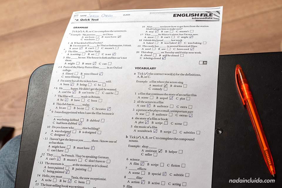 Test de inglés en la escuela Sprachcaffe de Malta
