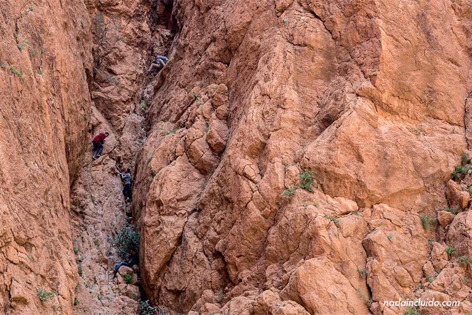 Niños escalando en la garganta de Todra (Marruecos)