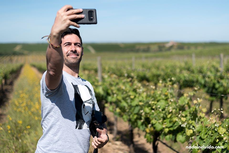Selfie en unos viñedos del Alentejo (Portugal)