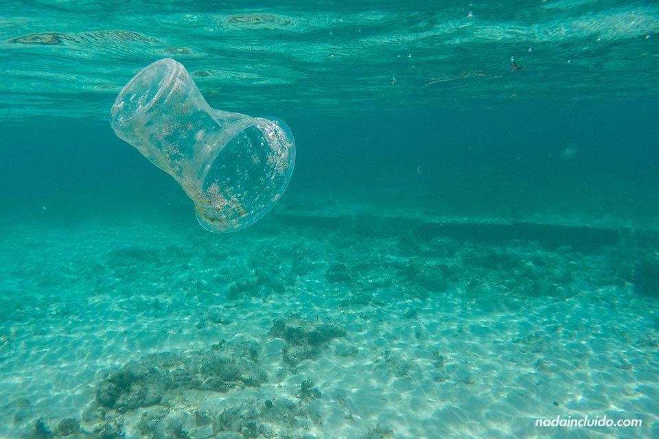 Vaso en el fondo del mar en islas Gili (Indonesia)