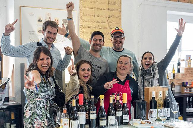 Después de la cata de vino Evideira en Monsaraz (Alentejo, Portugal)