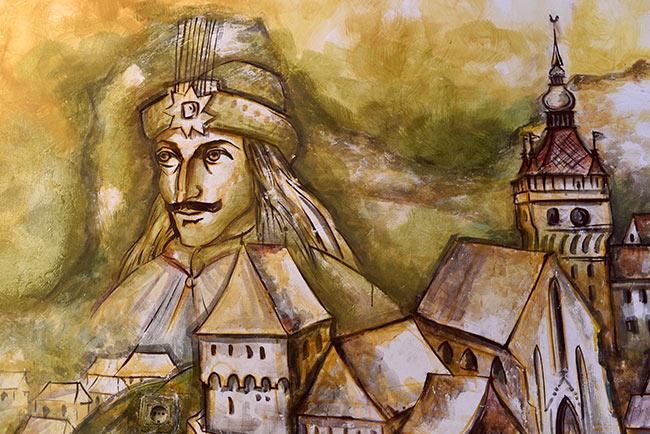 Pintura de Vlad Tepes en su casa natal, Sighisoara (Rumanía)