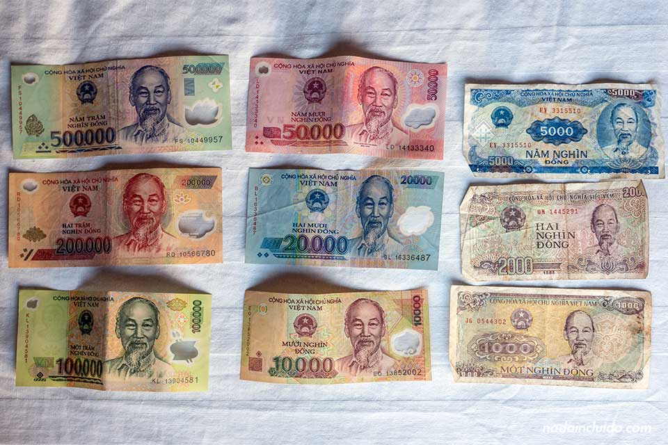 Billetes de Dongs, la moneda vietnamita