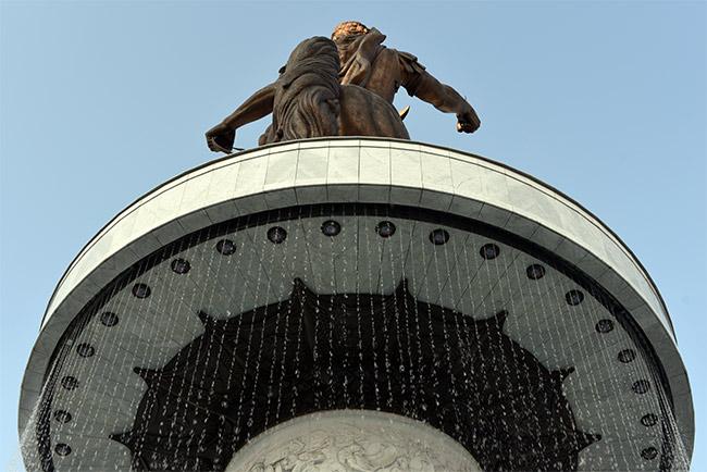 "Parte trasera de la estatua de ""Alexander The Great"" en Skopje (Macedonia)"