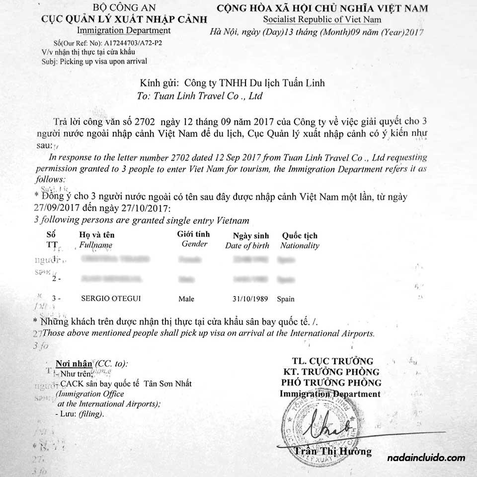 Ejemplo de carta de invitación a Vietnam