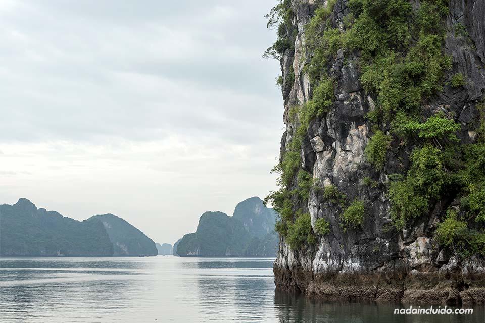 Una pared vertical de piedra se levanta sobre la Bahía de Lan Ha (Vietnam)