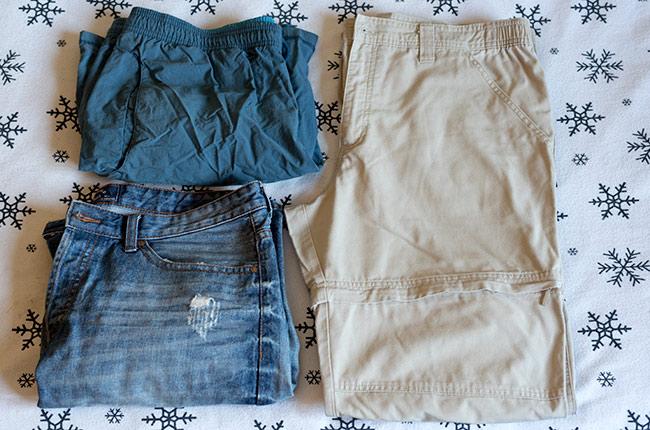 Tipos de pantalones utilizados durante nuestro viaje