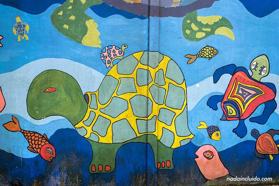 Mural sobre la tortuga en la escuela de Tortuguero (Costa Rica)