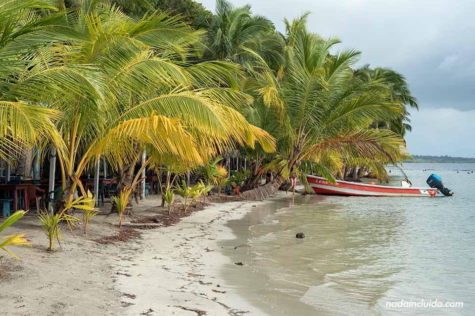 Lancha en la playa de las Estrellas de Bocas del Toro (Panamá)