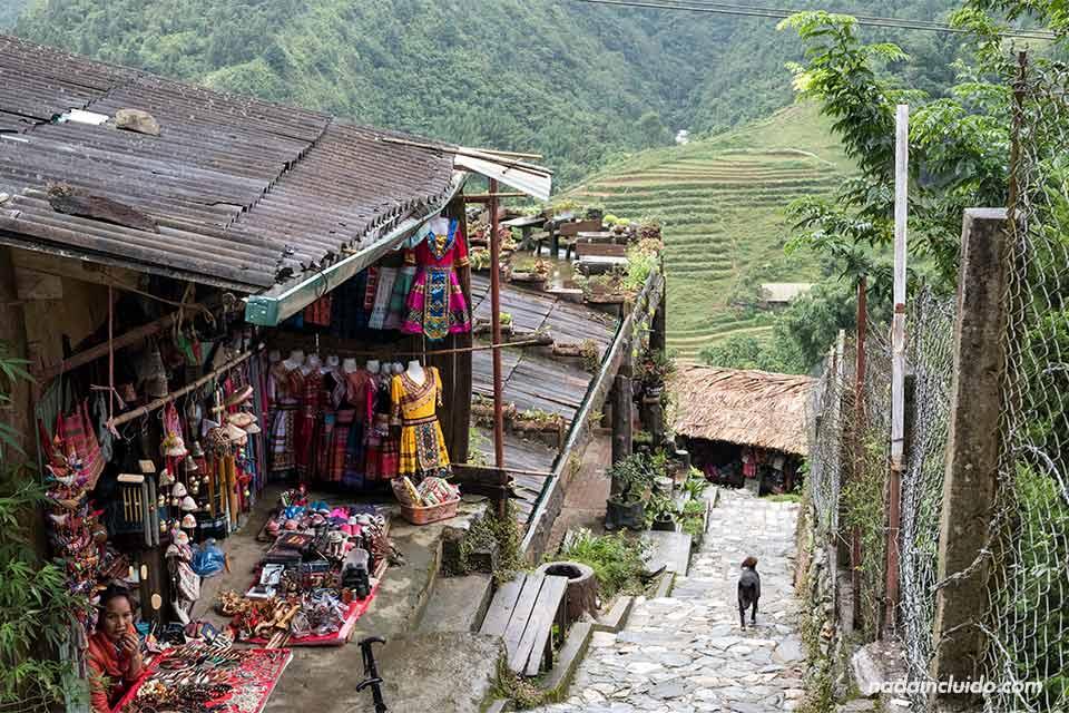 Escaleras de entrada al pueblo de Cat Cat, Vietnam