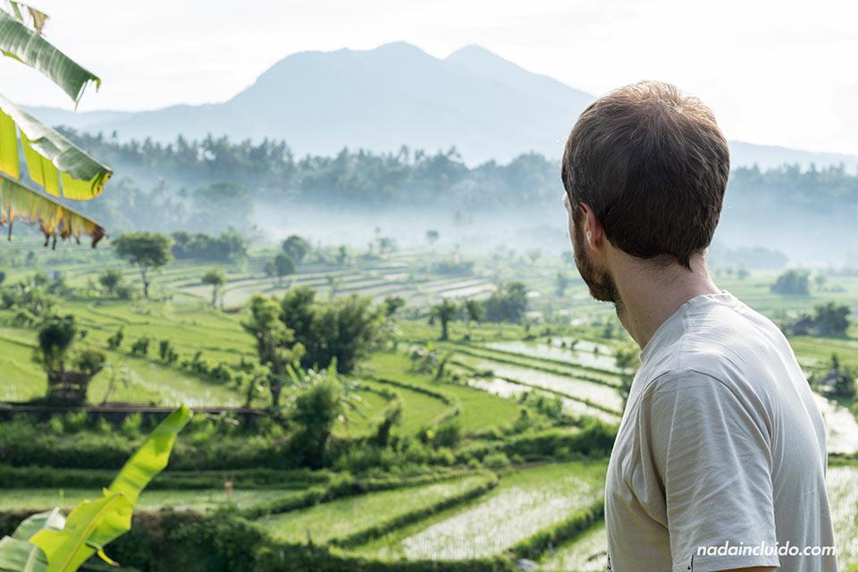 En unos arrozales de Bali cerca de Pura Lempuyang (Indonesia)