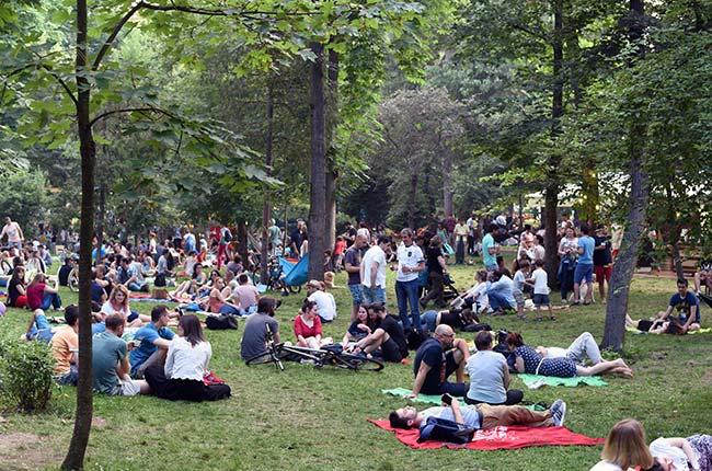 Jardines del Parque Central de Cluj Napoca durante el Festival de Jazz (Rumanía)