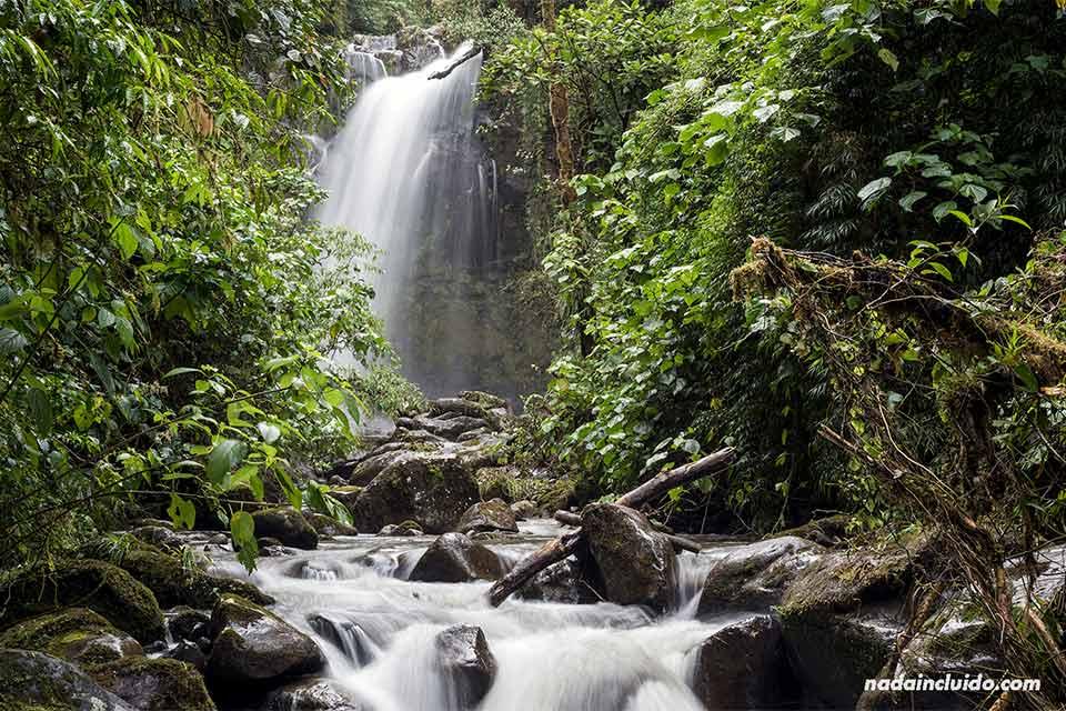La segunda de las tres cascadas escondidas de Boquete (Panamá)