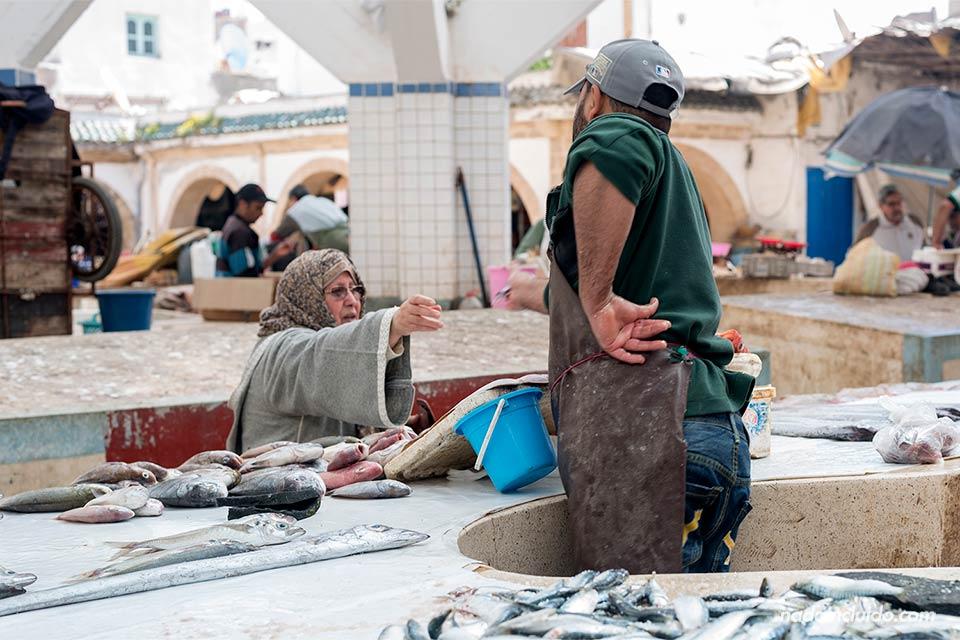 Comprando pescado en la lonja de la medina de Essaouira (Marruecos)