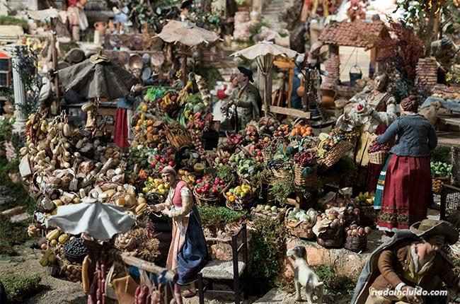 Mercados en el belén napolitano en la catedral de Santo Domingo de la Calzada (Rioja, España)