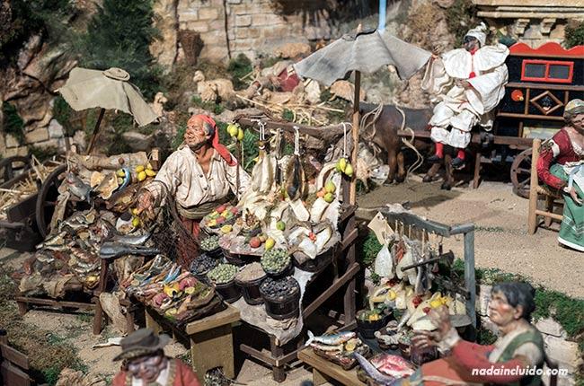 Mercado en el belén napolitano en la catedral de Santo Domingo de la Calzada (Rioja, España)