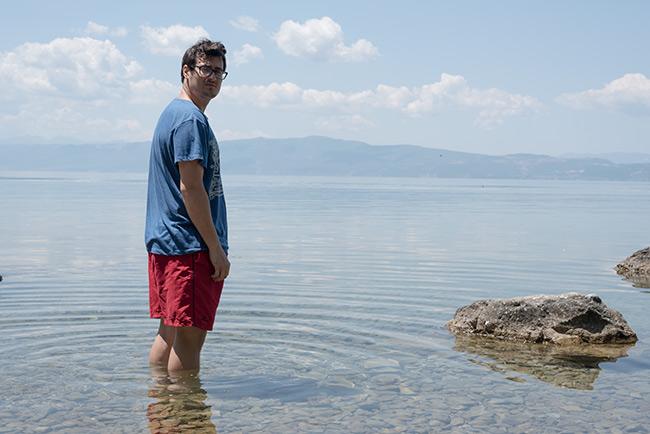 Bañándose en el Lago Ohrid (Macedonia)