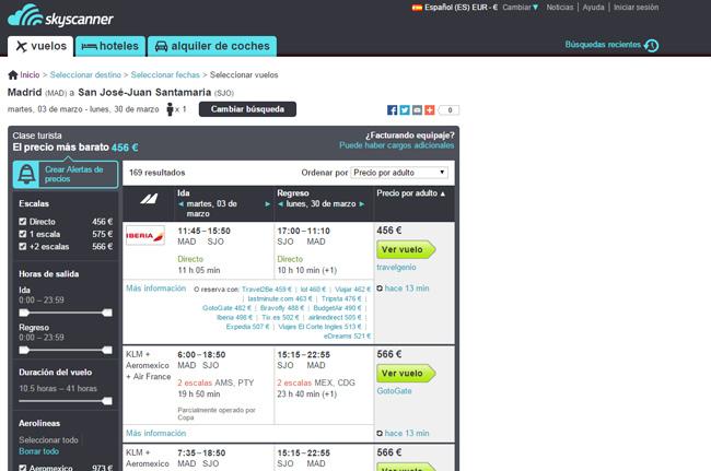Guía para comprar billetes de avión baratos.  4) Comparo y elijo el aeropuerto de salida