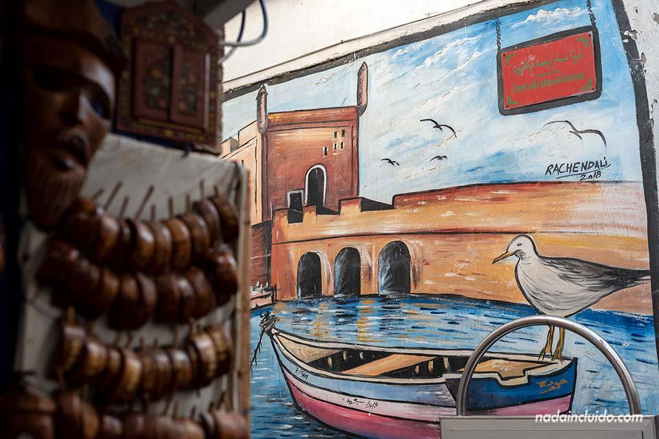 """Pintura de la """"Skala"""" del puerto de Essaouira (Marruecos)"""