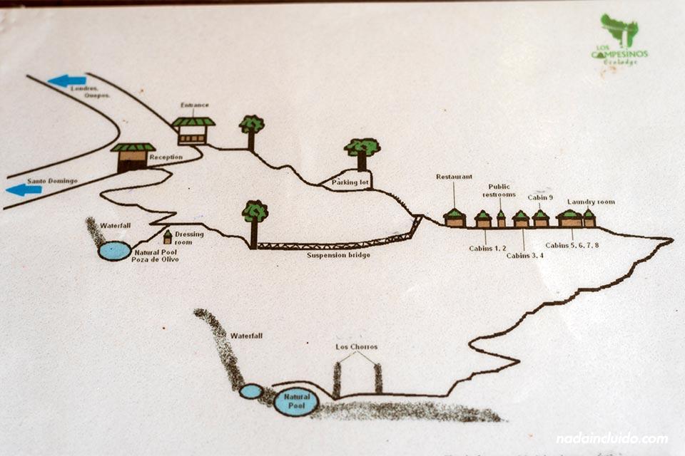 Plano de orientación en Los Campesinos Ecolodge (Costa Rica)
