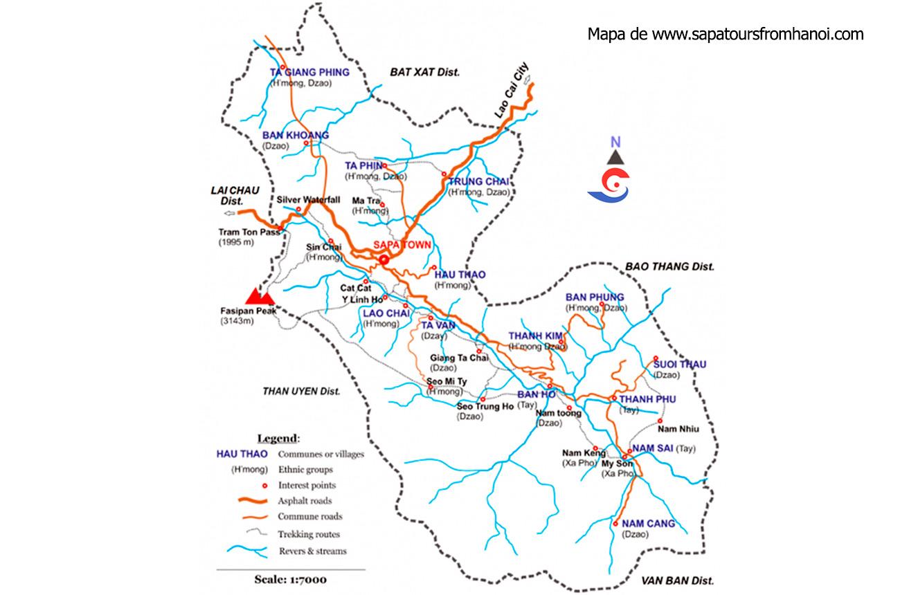 Mapa de rutas de Trekking por Sapa. Extraído de la web www.sapatoursfromhanoi.com