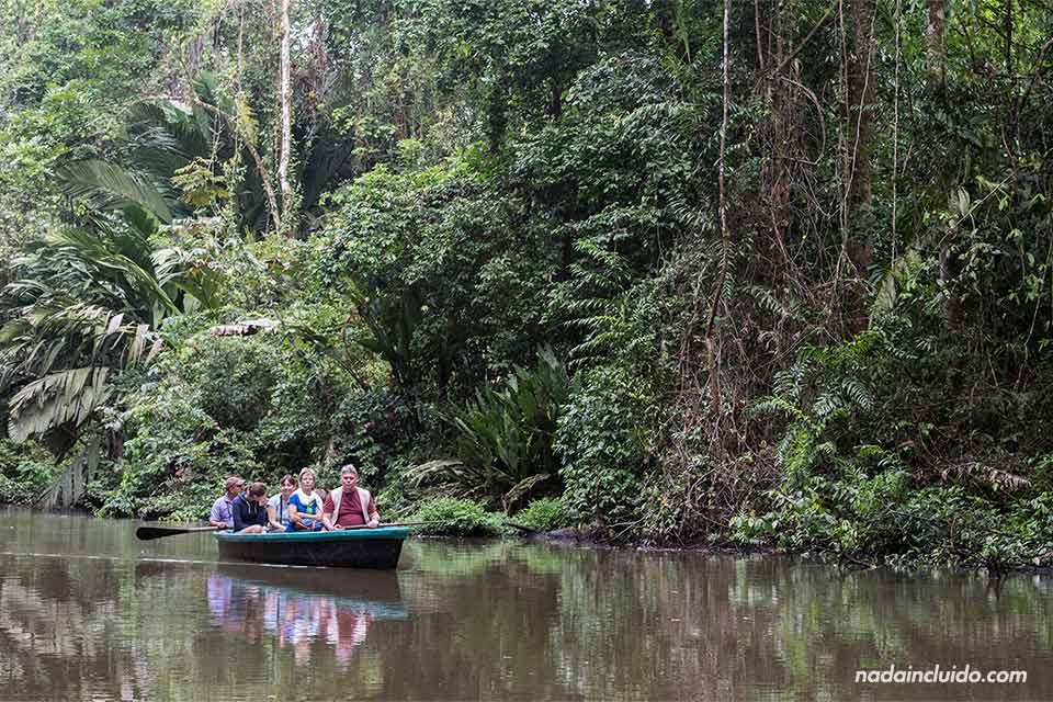 Navegando en bote por los canales de Tortuguero (Costa Rica)
