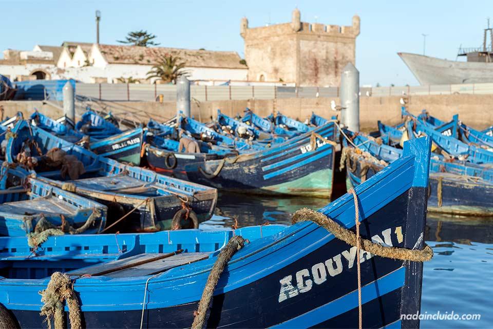 Muchos barcos en el puerto de Essaouira (Marruecos)