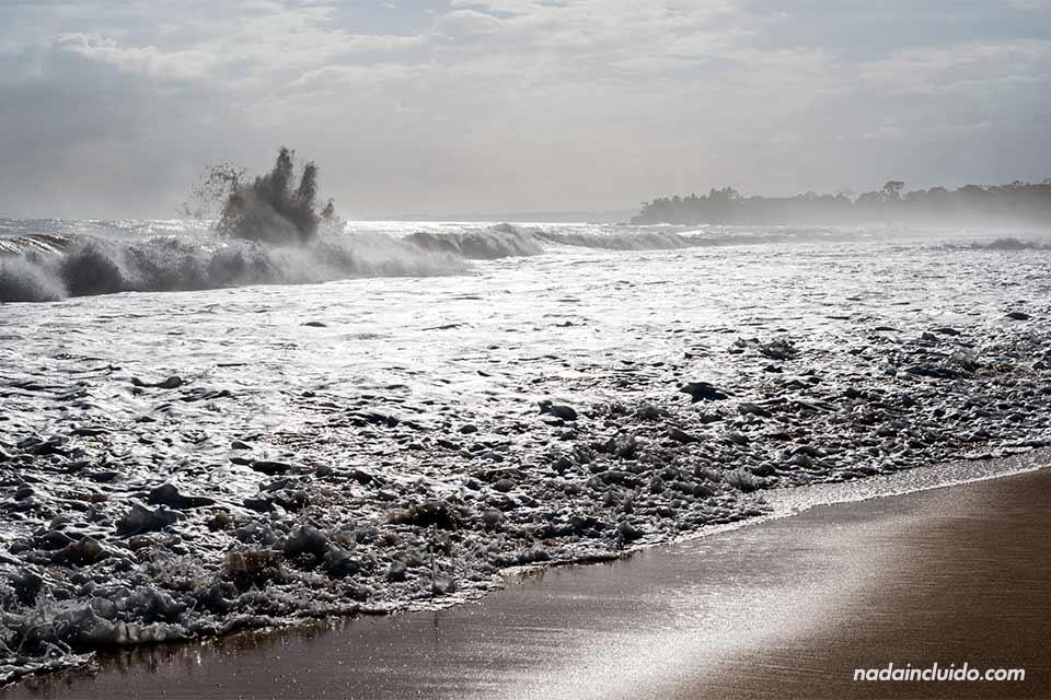 Mar agitado en la playa Bluff de isla Colón (Bocas del Toro, Panamá)