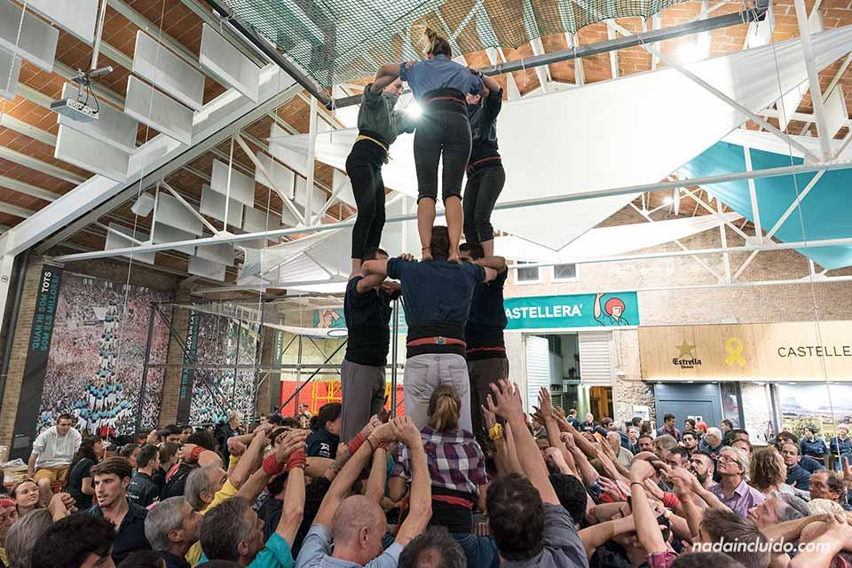 Castellers entrenando en Vilafranca del Penedés