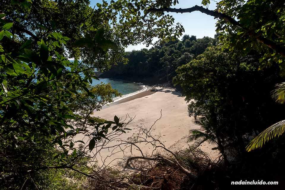 Vista de la playa desde lo alto de isla Bolaños, en el parque nacional marino Golfo de Chiriquí (Panamá)
